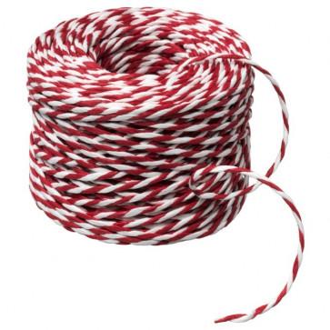 dekorativna vrvica 2 mm, belo-rdeča, 1 m