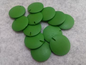 lesene perle ploščate - okrogle 25 mm, sv. zelene, 5 kos