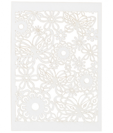 okrasni papir, čipka, 10,5x15 cm, 200 g, bele b., 1 kos