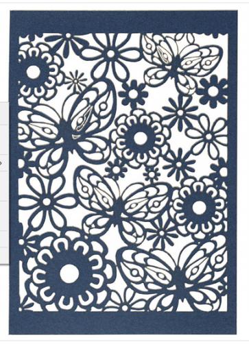 okrasni papir, čipka, 10,5x15 cm, 200 g, modra b., 1 kos