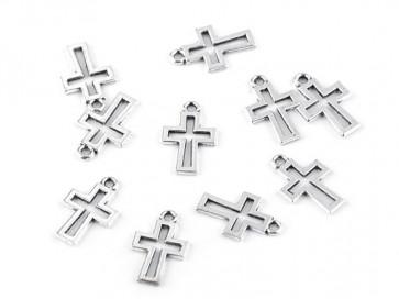 obesek za nakit, oblika križ, platinaste b., 11x17 mm, 1 kos