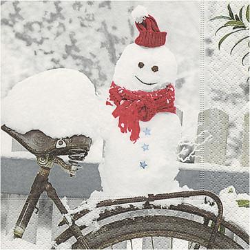 papirnate serviete 33x33 cm, 3-slojne, snežak s kolesom, 1 kos