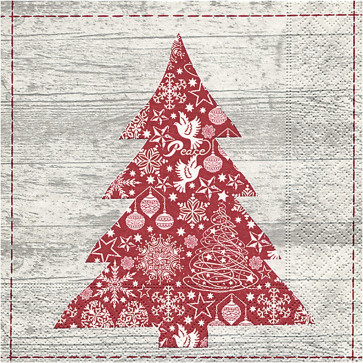 papirnate serviete 33x33 cm, 3-slojne, božično drevo, 1 kos