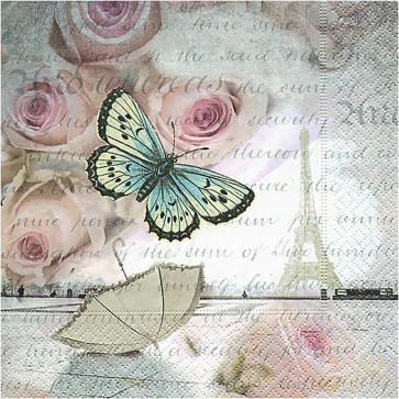 papirnate serviete 33x33 cm, 3-slojne, metulj, 1 kos