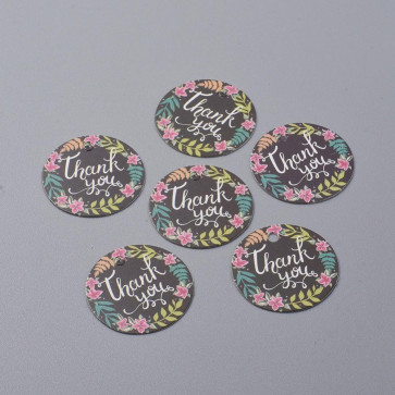 "kartonček z napisom ""Thank You"", črne barve, okrogel - premer 30 mm, 1 kos"