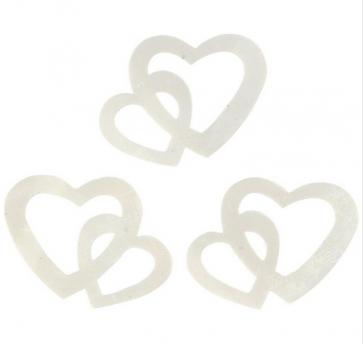 """dodatek dvojno srce, 31x22 mm, """"off white"""" umazano bela b., 1 kos"""