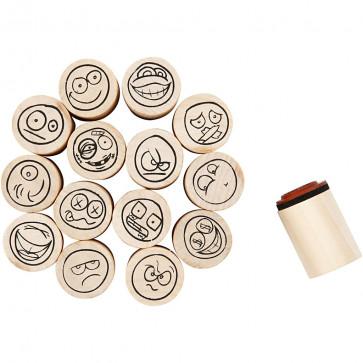 štampiljke - emoji, premer: 20 mm, mix - naključen izbor, 1 kos