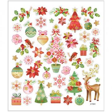 nalepke 15x16,5 cm, samolepilne, božične, 1 pola (43 nalepk)