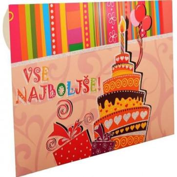"""kuverta za darilne bone """"Vse najboljše, torta"""", 22x15.5 cm, 1 kos"""