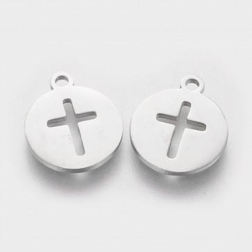obesek za nakit, ploščat krog z križem, 15.5x20x1 mm, nerjaveče jeklo, 1 kos