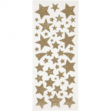 Glitter nalepke (z bleščicami) 10x24 cm, samolepilne, zvezde zlate, 1 pola (110 kos)