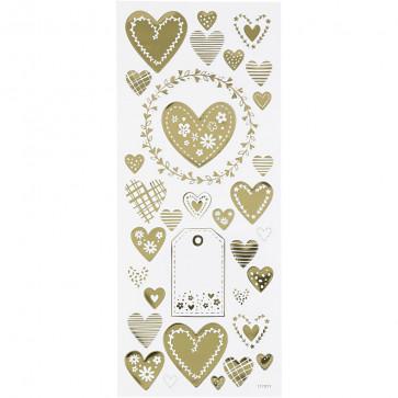nalepke, 10x24 cm, samolepilne, zlati srčki, 1 pola (cca 33 kos)