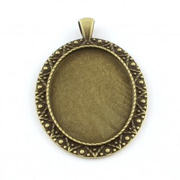 osnova za obesek - medaljon 59x40x3mm, antik, brez niklja, velikost kapljice: 30x40 mm, 1 kos