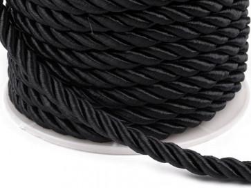 prepletena vrvica, 7 mm, črna b., 1 m