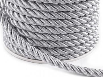 prepletena vrvica, 7 mm, siva b., 1 m