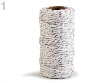 bombažna vrvica z lurexom, 1,5 mm, bela - srebrna, cca 17 m