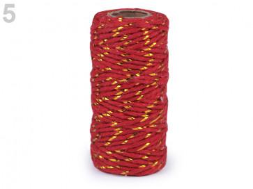 bombažna vrvica z lurexom, 1,5 mm, rdeča - zlata, cca 17 m