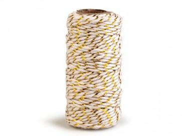 bombažna vrvica z lurexom, 1,5 mm, belo - zlata, cca 17 m