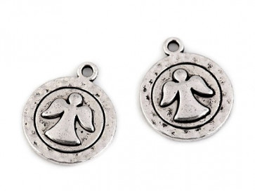 obesek za nakit, angel, platinaste b., 15 mm, 1 kos