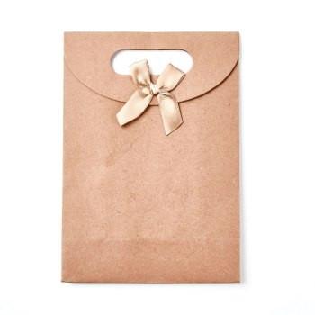 vrečka iz kartona s pentljo, 26.6x19x5 cm, rjava b., 1 kos