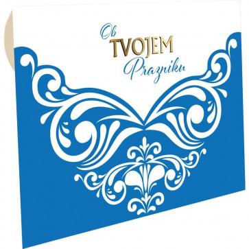 """kuverta za darilne bone modra """"Ob tvojem prazniku"""", 22x15.5 cm, 1 kos"""