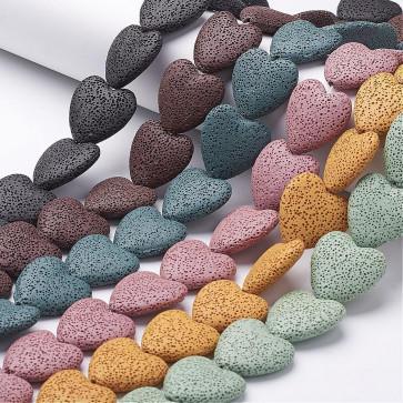 lava perle, oblika srca, 26x30 mm, mix b., 1 kos