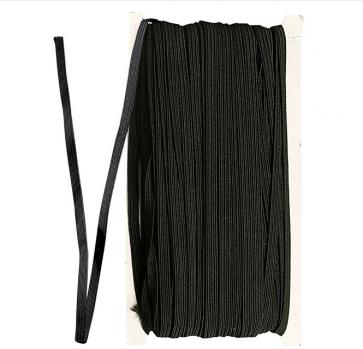 elastična vrvica, ploščata, širina: 5~6 mm, črna, 1 m