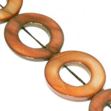 školjke, obroč - ploščat 20 mm, rjave, 1 niz-40 cm