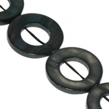 školjke, obroč - ploščat 20 mm, črne, 1 niz-40 cm (20 kos)