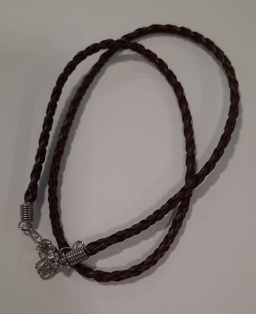 osnova za ogrlico - usnjena, prepletena, rjava, 1 kos