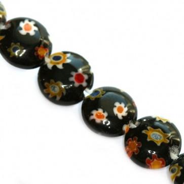 millefiori perle okrogle-ploščate 8 mm, črne, 1 niz-38 cm