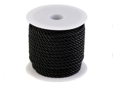 prepletena vrvica, 5 mm, črne b., 1 m