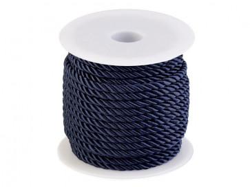 prepletena vrvica, 5 mm, pariško modre b., 1 m
