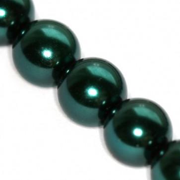 steklene perle, okrogle 6 mm, emerald, 1 niz - 80 cm