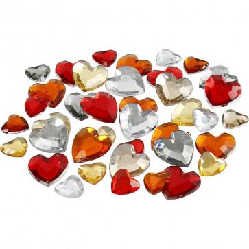 akrilni srčki 6+10+14 mm, mix rdečo oranžni - naključen izbor, 1 kos