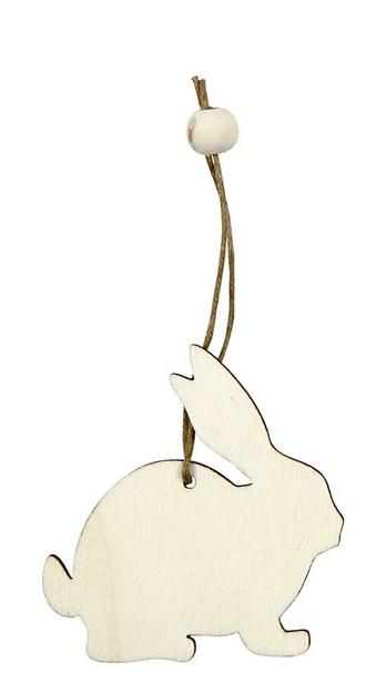 leseni obesek - zajec 5.5 cm, naraven, z vrvico, 1 kos