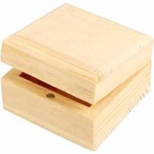 lesena škatla za nakit 6x6x3,5 cm, naravna b., 1 kos