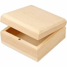 lesena škatla za nakit 9x9x5 cm, naravna b., 1 kos