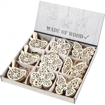 leseni obesek 10 cm, naraven, z vrvico, mix, 1 kos