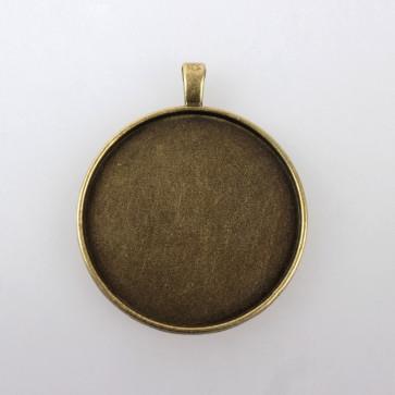 osnova za obesek - medaljon 52x43x2 mm, antik, velikost kapljice: 40 mm, 1 kos