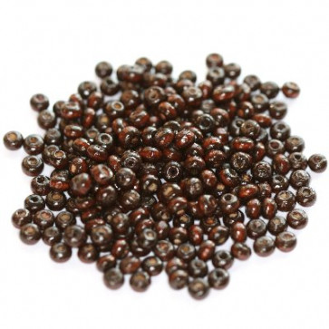 lesene perle, okrogle 3x4 mm, t. rjave, 50 gr