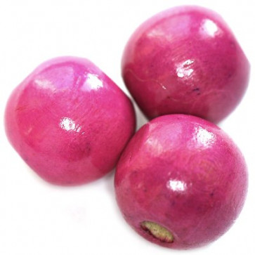 lesene perle, okrogle 15x16 mm, roza, 50 gr