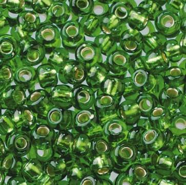 EFCO steklene perle 2,6 mm, srednje zelene, prosojne s posrebreno luknjico, 17 g