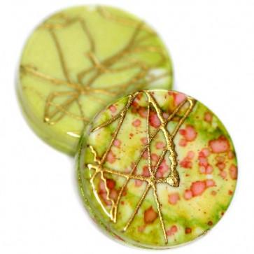 plastične perle, ploščate - okrogle 18 mm, zelene, 50 gr
