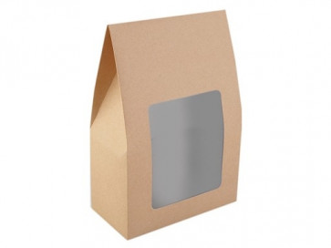 darilna embalaža z okencem, 16x23.5x8 cm, rjave b., 1 kos