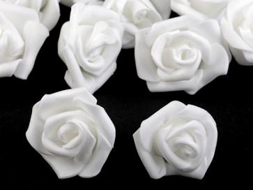 dekorativna roža, penasta, 2,8x4 cm, bela b., 1 kos