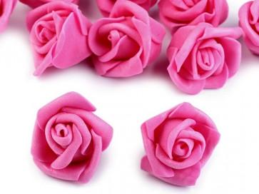 dekorativna roža, penasta, 2,8x4 cm, roza b., 1 kos