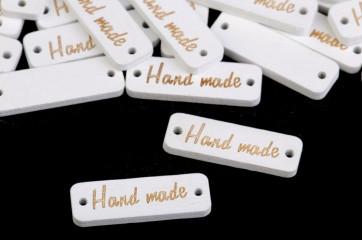 """lesen našitek """"hand made"""", 10x30 mm, bele barve, velikost luknje: 1,5 mm, 1 kos"""