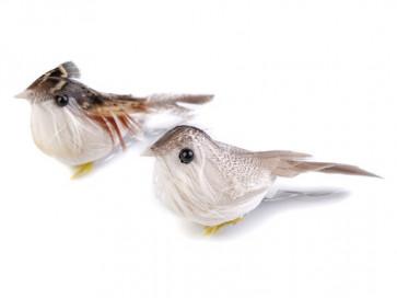 dekorativna ptica, 2.5x8 cm, dolžina žice: 3.5 cm, sivo-bele b., 1 kos