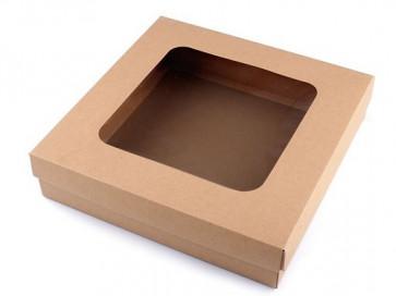 darilna embalaža z okencem, 30x30x7 cm, rjave b., 1 kos